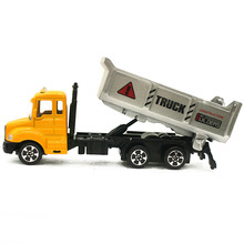 1:64 Mini Toys Cars Model Alloy Plastic Tractor Dump Trucks Engineering Car Model Display Stand Gift for Kids (L:W:H)17:4:8CM