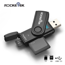 Rocketek read 2 cards Simultaneously USB 3.0 Memory Card Reader 2 Slots for SD/micro SD/TF/microsd sdhc sdxc With caps protect
