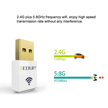 EDUP Mini 2.4G 5.8G 600Mbps WiFi Adapter Wireless Dual Band USB Network Card Adapter IEEE 802.11AC for desktop laptop MacBook PC(China)