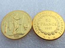 France 1887 Constitution 50 Francs Gold-Plated High Quality Copy Coins High Quality