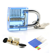 Locksmith Practice Tool Set 1Pcs Transparent Padlock +1PCS Lock+ 12PCS Broken Key Extractor Tools(China)