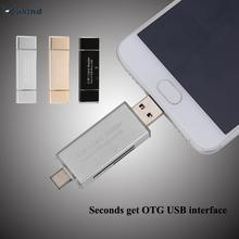 3in1 USB3.1 OTG Smart Card Reader Flash Multi Memory Card Reader TF Micro SD to Type-c Card Reader for Phone Tablet PC