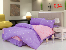 Twin Full Queen Sun Moon Star Polyester Bed Skirt 4Pcs Bedding Set Dust Ruffle Bedclothes Set Duvet Cover Quilt Cover Pillowcase(China)
