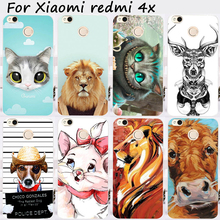 Cases For Xiaomi Redmi 4X 5.0 inch Cover Bags Hard Plastic Soft TPU Cell Phone Skin Cute Animal Painted Shell Hood Housing
