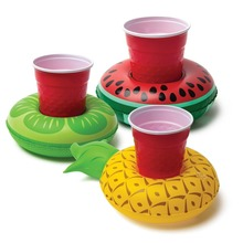 Summer Swimming Pool Floating Inflatable Watermelon Water Drinks Cup Kiwi Beach Fruit Cup Care Pineapple Floating Row For Party