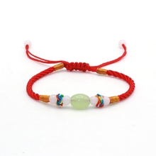Lucky Red Rope String Braided Macrame Good Wishes Bracelet Beads Rainbow Corn Knot Handmade Accessories Gift(China)