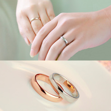 Fashion Jewelry 316L Germany Imported Titanium Steel Rings Rose Gold Color Polishing Couple Wedding Rings Engagement Ring(China)