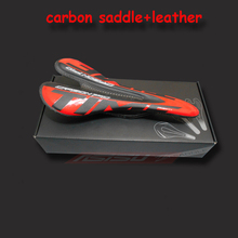 Mountain Road Bike Saddle Light Weight Seat Cushion Bicicleta Cycling Parts Leather Bicycle Carbon Fiber Saddle freeshiping