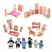 Wooden Pretend Play Furniture Set with Dolls Mini Kitchen Dollhouse Bathroom Bedroom Furniture Set Kids Playing House Game Toy