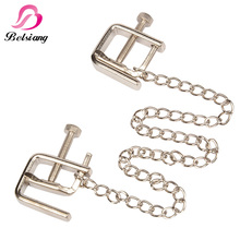Stainless Steel Nipple Clamp Female Breast Nipple Clamps With Chain Clips Labia Bdsm Erotic Men Sex Toy For Couples Adult Game