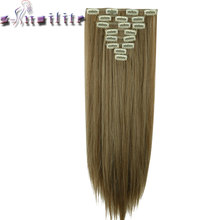 S-noilite 8Pcs Long 24 inches Striaght Real Thick Full Head Clip in on Hair Extensions Natural Synthetic Hairpieces for human(China)
