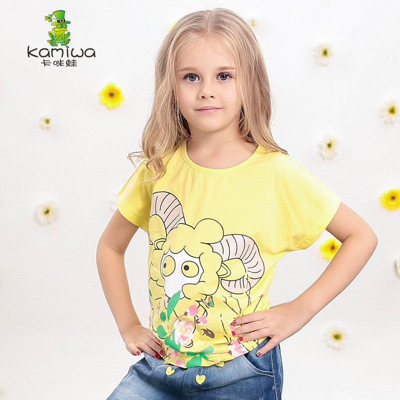 KAMIWA 2017 Summer Style Baby Girls Hoggerel Printing Cotton Character T Shirts Short Sleeve Tees Children Clothing Kids Clothes<br><br>Aliexpress