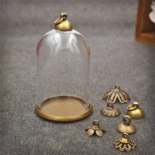 5sets/lot 38*25mm glass globe antique bronze base 8mm beads cap set glass bottle vial pendant necklace pendant jewelry finding(China)