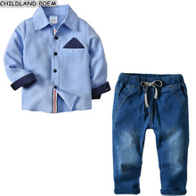 Boys Clothing set Gentleman Children's set Spring 2018 Children Tracksuits For Boys Shirt+ Denim Pants 2pcs Fashion Kids Outfits(China)
