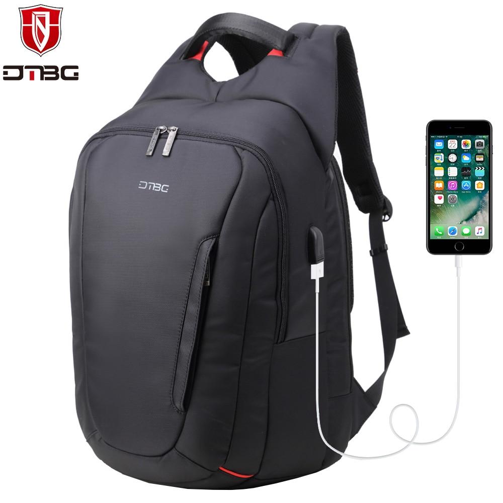 DTBG Men Backpack for 15.6 Inch Laptop External USB Charging Port Anti-theft Bag Waterproof Nylon Computer Daypack School Bags<br>