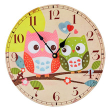 New 2016 Cartoon Pastoral Colored Drawing Wooden Wall Clock Cute Bedroom/Living Room  Wall Watch Owl Pattern Electric Clock 35CM