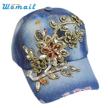 Hat For Women Newly Design Floral Rhinestone Denim Baseball Cap best Hat Cap Canvas Snapback Caps Good Quality