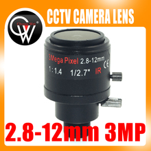 3.0Megapixel Fixed Iris M12 HD 2.8-12mm view angle 90~28Degree Varifocal cctv IR HD Lens,F1.4,Manual Focus Zoom