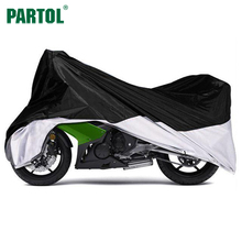 Black Silver Motorcycle Cover XL Large Size Waterproof Anti UV With Free Storage Bag Outdoor Touring Bike Cruiser Cover 180T(China)