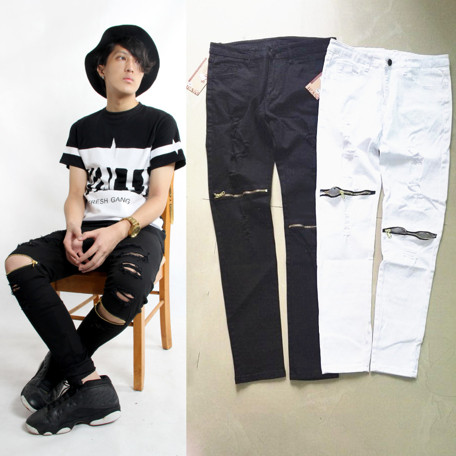 New style hip hop Black white ripped skinny jeans patches joggers mens harem jeans pants distressed skinny ankle zipperОдежда и ак�е��уары<br><br><br>Aliexpress
