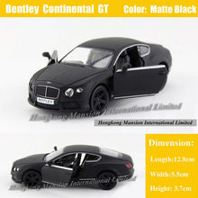 1:36 Scale Diecast Alloy Metal Car Model For Bentley Continental GT Collection Licensed Model Pull Back Toys Car - Matte Black