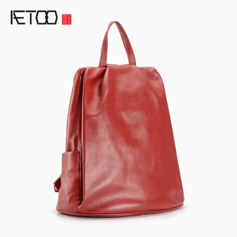 AETOO First layer of leather shoulder bag 2017 new college style fashion anti-theft simple leather ladies backpack women bag(China (Mainland))