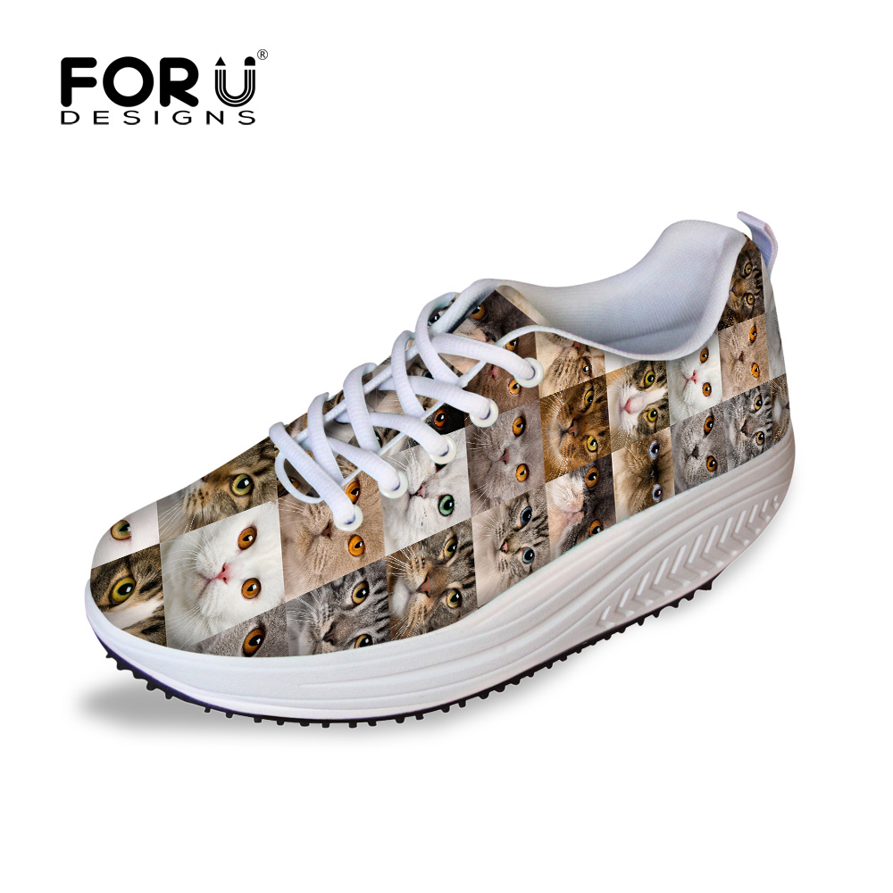 FORUDESIGNS Fashion Animal Printed Women Flat Platform Shoes Breathable Lace-up Female Height Increasing Lose Weight Swing Shoes<br>