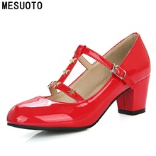 MESUOTO Red Patent Leather T Strap Buckle Fashion Style Womens Shoes Rivets Spike Thick High Heels Ladies Pumps
