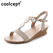 Coolcept Women Wedges Sandals Real Leather Solid Peep Toe Shoes Women Buckle Flower T Strap Sandal Ladies Footwears Size 34-39(China)