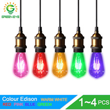 GreenEye 1~4Pcs Color Led Bulb Edison 220v E27 Filament LED Lamp Light ST64 Retro Green/Blue/Red/Pink/Warm/White Ampoule Lampara(China)