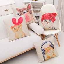 Cute Lovely Cat Decorative Cushion Cover Cotton Linen Square Throw Pillow Cover 45x45CM Pillow Case Home Office Car Sofa Decor(China)