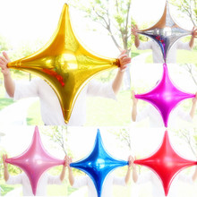 30pcs/lot 25inch Six color for choice pure foil balloons four pointed star balloon globos Wedding/birthday Party supplies