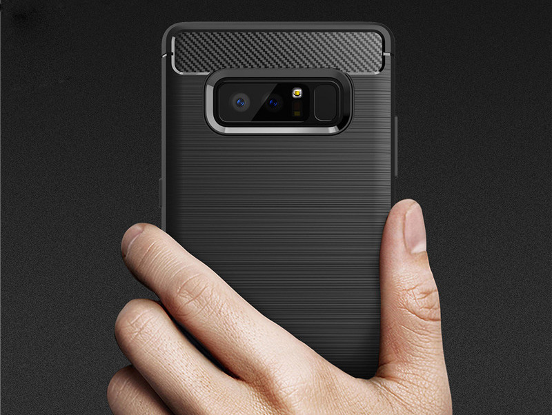 Black Phone Case for Samsung Galaxy Note 8 Shockproof Back Cover Thin Soft TPU Bumper Armor Brushed Carbon Fiber Patterned Shell