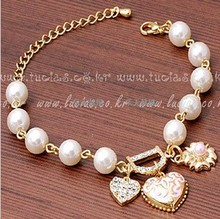 Bracelets for Women Pulseras Fashion Gold Heart Charm Bracelets & Bangles Simulated Pearl Bracelet Femme Pulseira Masculina(China)