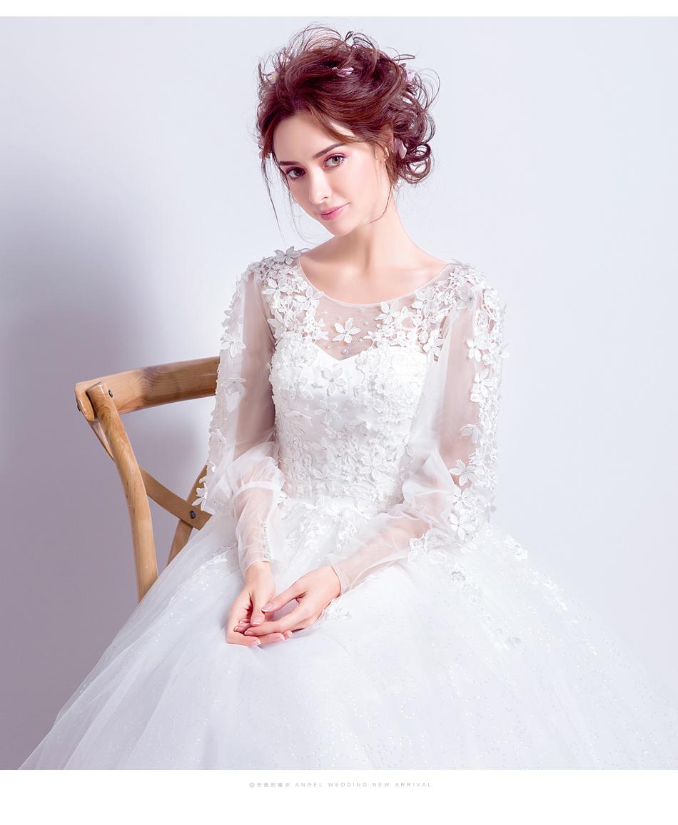 Angel Wedding Dress Marriage Bride Bridal Gown Vestido De Noiva 2017 Sweet, lace, flowers, long sleeves, 6011 12
