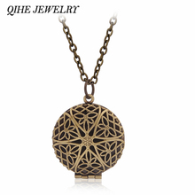 QIHE JEWELRY Vintage Round Shape Hollow Filigree Locket Photo Pendants Wishing Box Pendant Necklace Keepsake Memorial Jewelry