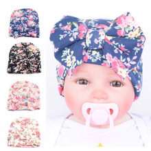 New Cute Floral New Born Hats Cotton For Girls With Big Bow Spring Autumn Infant Hospital Newborn Baby Beanie Caps Hats