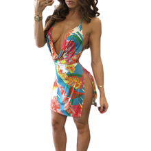 Multi Color Feathers Pattern Printed Bodycon Dress Sexy Ladies Plunging V Neck Halter Club Dress Hot Blackless Split Mini Dress
