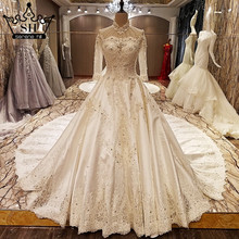 2017 High-end Custom White Satin Wedding Dress High Collar Beading Diamond Luxury Bridal Gowns Vestido De Noiva Real Picture