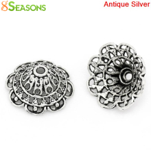 "8SEASONS Bead Caps Flower Antique Silver(Fits 24mm Beads) Hollow 18mm x 18mm( 6/8""x 6/8""), Hole:approx 1.3mm, 50PCs (B28382)"