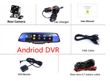 6.86in  3G Wireless Car DVR Android GPS Navigation Bluetooth Dual Lens dash cam rearview mirror camera dvr full hd 1080p