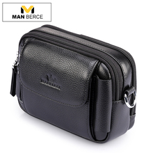 MANBERCE Brand Men's Waist Bag Cowhide Fanny Pack Genuine Leather Belt Bag Travel Casual Men Multifunction Wallet Mobi Phone Bag(China)