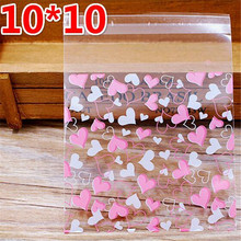 100pcs 10*13cm Pink White Heart Cookies Resealable Gift Candy Food Beans Cookie Handmade Self Adhesive Packing Bags