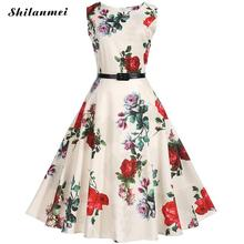 2017 New Summer Classic Women Dress Printed Floral Apricot Vintage Dress 1950s Rockabilly Swing Pinup A-line Party Dresses