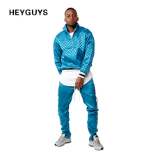 HEYGUYS 2017 new design cool men light track jacket with buttons side up two piece set track suit one set(China)