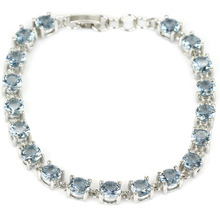 Stunning London Blue Topas SheCrown Woman's Wedding 925 Silver Bracelet 8inch 11x6mm(China)
