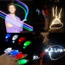4pcs/lot Finger Light Shiny Neon Stick Laser Finger Beams Colorful LED Ring Luminous Toy Glow Dance Toy Shinning Ring Party