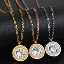 Top Quality Famous Brand Jewelry Gold-Color Stainless Steel Interchangeable Necklace AAA+ CZ Stone Party Gift(China)
