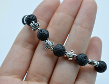 1pc Lava Stone with Turtle Charms Beads Aromatherapy Essential Oil Diffusing Bracelets for Women(China)