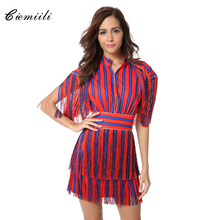 CIEMIILI Fashion Tassel Striped Patchwork Above Knee Mini Women 2017 Autumn Bodycon Celebrity Party Sexy Vestidos Noble Dresses(China)